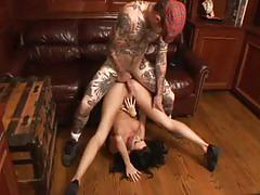 Horny sperm starved brunette slut down for tattooed hunk
