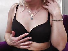 blonde, mature, masturbation, stockings, moaning, armchair, mature eu, mature nl, pamela g.