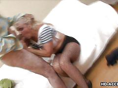 Mature blonde whore sucks two dicks