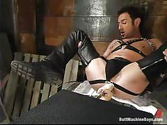 solo, fucking machine, anal insertion, gay, leather boots, butt machine boys, kink men, mike vista