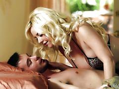 Big boobs blonde sucks a cock