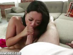 Sweaty cock sucking mom