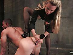 Chained and ass fucked by a bossy blonde