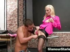Clothed glam eurotrash blonde gets fucked