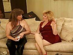 Two 50 yo play with each other before getting cock