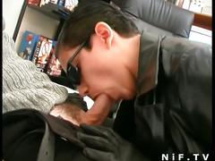 Hot brunette wearing a leather jacket gets fucked
