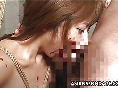 bdsm, babe, blowjob, brunette, censored, candle wax, asians bondage