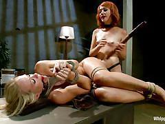 milf, blonde, lesbians, babe, redhead, mistress, strap on, anal insertion, ball gagged, rope bondage, whipped ass, kink, elle alexandra, simone sonay