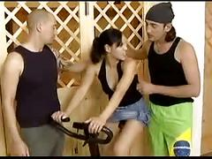2 parsonal trainers fuck  and dp with a beautiful brunette