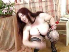 Sexy mature mom with big natural boobs and hungry cunt