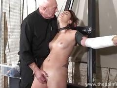 Tied lexys sexual domination and dungeon humiliation of screaming slavegirl in a