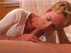 Short haired milf blowing the young one's cock