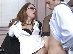 Brunette hottie allie haze has hot sex on desk.