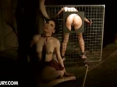 Pair of submissive hotties tortured with cock