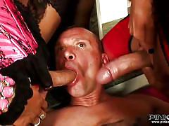 Dude becomes cum dumpster for tranny jizz