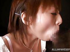 Japanese slut plays with cum