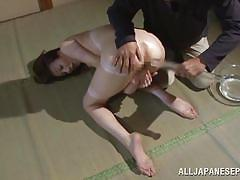Reiko gets cold water in her asshole