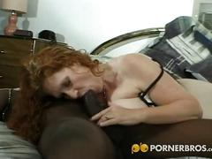 Redhead milf gets her ass banged by a black dude