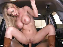 Fuck the busty horny nikki benz at your car