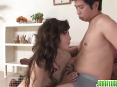 Japanese brunette mateur babe loves cock sucking.
