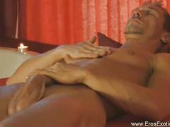 Erotic solo cock jerking show