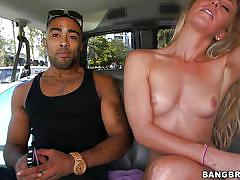 Blonde sucks a bbc on the backseat