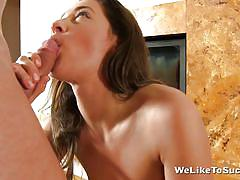 She is a pro at licking cock