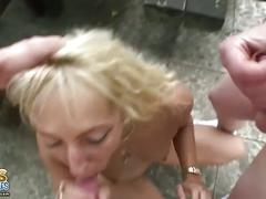 Blonde mature outdoor threesome