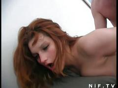 Hot redhead babe gets nailed on the couch