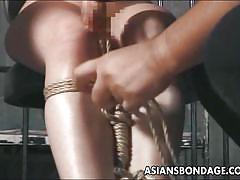 bdsm, asian, brunette, upside down, prison cell, rope bondage, asians bondage