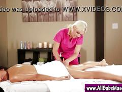 Lesbo babe massage seduction