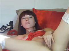 Amateur brunette belle plays with her pussy