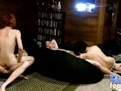 Lustful slender twinks hardcore anal orgy