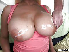 milf, blonde, big cock, blowjob, big boobs, big booty, titjob, massaging tits, oiled breasts, big tits, round asses, bangbros network, princess london