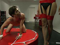 Tranny domme sofia fucks her slave lance