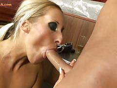 Blonde and her bf having sex at the workplace