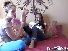 Foot fetish brats play with each other sexy feet