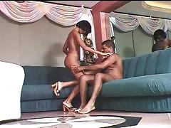 Cute ebony gets black cock to ride hardcore