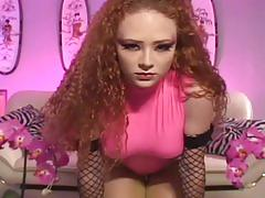 Glamour babe in pink latex and thigh highs fucking