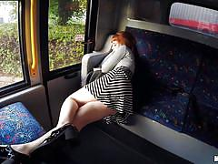 Redhead sucks my cock on the train