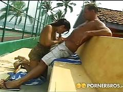 Busty brunette gets banged in the beach