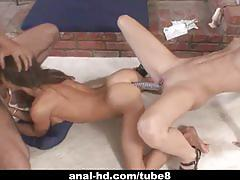 Hard anal threesome