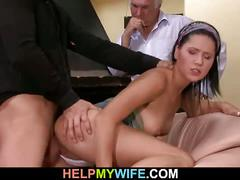 Vicious wife gets fucked in front of her husband