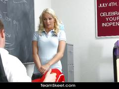 Hot blonde schoolgirl fucks her coach