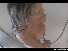 Big boobs take shower and fingers herself