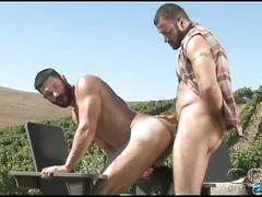 Horny hunks fucking outdoor sex.