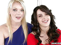 blonde, threesome, babe, blowjob, black hair, pov, shaved pussy, big mouthfuls, bangbros network, zoey paige, natalie heart