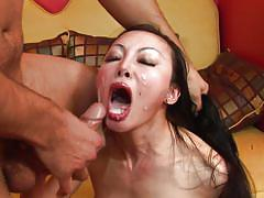 milf, asian, cumshot, blowjob, from behind, reverse cowgirl, black hair, hard pounding, brutal asia, angie venus