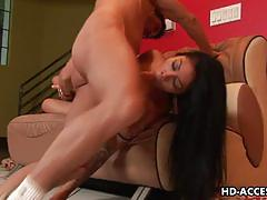 Hot biatch rayne rodriguez gets her face fucked.