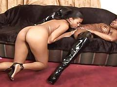 lesbian, big ass, ebony, bubble butt, licking pussy